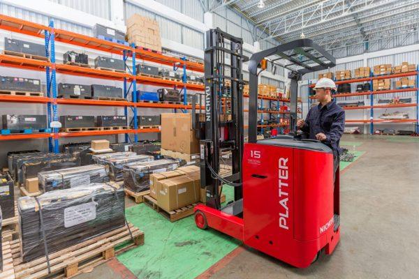 Nichiyu Stand-on Reach Truck, Narrow Aisle- 1400kg to 3,000kg Capacity